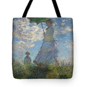 Monet , Woman With A Parasol  Tote Bag