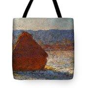 Monet Claude Haystack Snow Effect  Cat Tote Bag