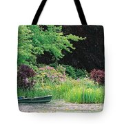 Monet's Garden Pond And Boat Tote Bag