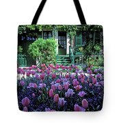 Monet's House With Tulips Tote Bag