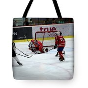 Mongolia Team Players Defend Goal Vs Malaysia In Ice Hockey Match In Rink Bangkok Thailand Tote Bag