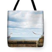 Monitored Seagull Take-off Tote Bag