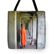 Monk Among The Ruins At Angkor Wat, Cambodia Tote Bag