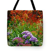 Yellow-orange Kangaroo Paws And Sea Lavender By Napier At Pilgrim Place In Claremont-california Tote Bag