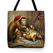Monkey Physician Examining Cat For Fleas Tote Bag