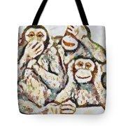 Monkey See Monkey Do Fragmented Tote Bag