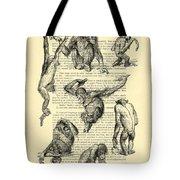 Monkeys Black And White Illustration Tote Bag