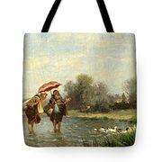 Monks And Ducks Tote Bag