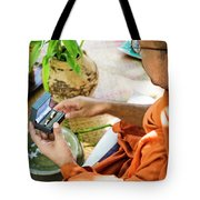 Monks Blessing Buddhist Wedding Ring Ceremony In Cambodia Asia Tote Bag