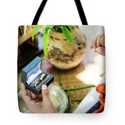 Monks Blessing Buddhist Wedding Ring Ceremony In Cambodia Tote Bag