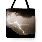 Mono Tone Lightning Striking The Ridge Tote Bag