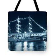 Monochrome Blue Boston Tall Ships At Night Boston Ma Tote Bag