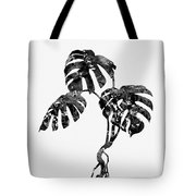 Monstera Leaf-black Tote Bag