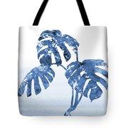Monstera Leaf-blue Tote Bag