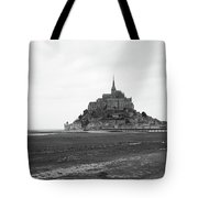 Mont Saint Michel Black And White Tote Bag