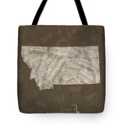 Montana Map Music Notes 3 Tote Bag