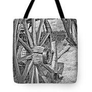 Montana Old Wagon Wheels Monochrome Tote Bag
