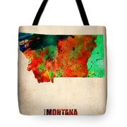 Montana Watercolor Map Tote Bag by Naxart Studio
