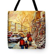 Montreal City Scene In Winter Tote Bag