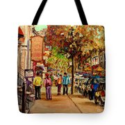Montreal Downtown  Crescent Street Couples Walking Near Cafes And Rstaurants City Scenes Art    Tote Bag