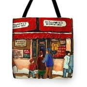 Montreal Hebrew Delicatessen Schwartzs By Montreal Streetscene Artist Carole Spandau Tote Bag