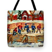 Montreal Hockey Rinks Urban Scene Tote Bag