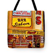 Montreal Paintings Dunns Restaurant Streets Of Montreal Tote Bag