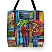 Montreal Rainy Day Paintings April Showers Umbrella Conversation At Wilensky's Deli C Spandau Quebec Tote Bag