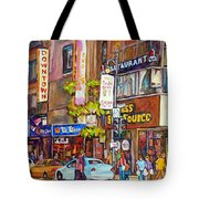 Montreal St.catherine Street Corner Peel Tote Bag