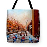 Montreal Street Hockey Game Tote Bag