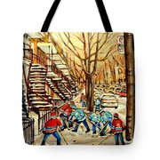 Montreal Street Hockey Paintings Tote Bag