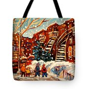 Montreal Street In Winter Tote Bag