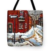 Montreal Street In Winter La Ville En Hiver Buy Montreal Paintings Petits Formats Peintures A Vendre Tote Bag