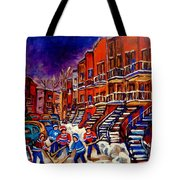 Montreal Street Scene Paintings Hockey On De Bullion Street   Tote Bag