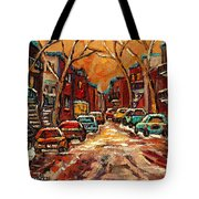 Montreal Streets In Winter Tote Bag