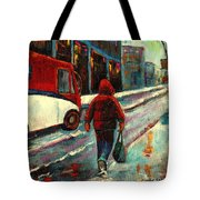 Montreal Streets Winter Morning Tote Bag