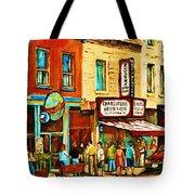 Montreal Streetscene Artist Carole Spandau Paints Schwartzs Main Street Hustle Bustle Tote Bag