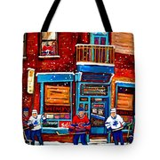 Montreal Wilensky Deli By Carole Spandau Montreal Streetscene And Hockey Artist Tote Bag