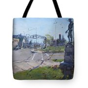 Monument At Pine Ave And Portage Rd Tote Bag