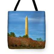 Monument Blossoms, Japanese Cherry Blossom Trees With The Washington Monument In The Background Tote Bag