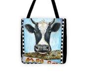 Moo Cow In Black Tote Bag