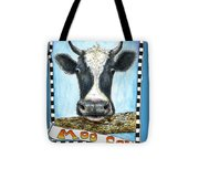 Moo Cow In Blue Tote Bag