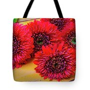Moody Red Gerbera Dasies Tote Bag