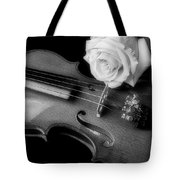Moody Violin And Rose In Black And White Tote Bag