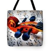 Moody Violin Scroll On Sheet Music Tote Bag