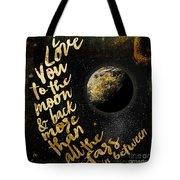 Moon And Back Stars Night Tote Bag