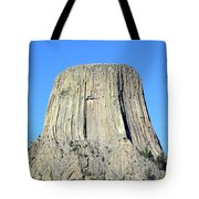 Moon And Devil's Tower National Monument, Wyoming Tote Bag