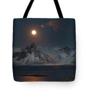 Moon And Mountains In Lofoten Tote Bag