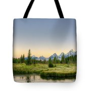 Moon And Mountains Tote Bag