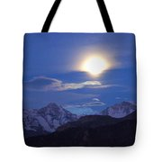 Moon Light Over The Alps Tote Bag